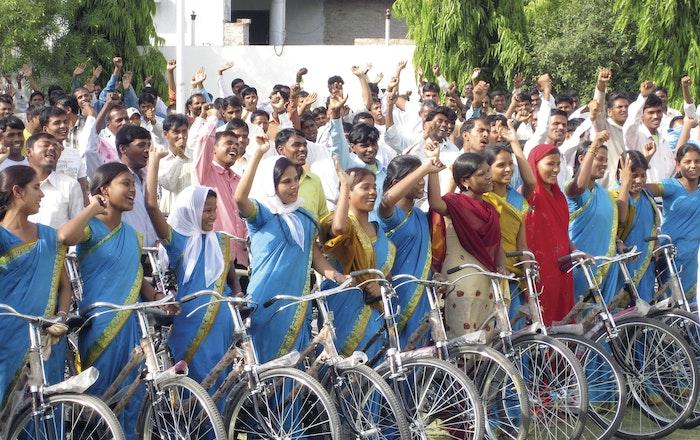 Bikes celebrating